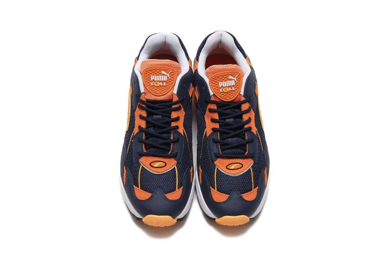 PUMA CELL Ultra OG White Teal peacoat jaffa orange blue navy suede leather mesh cell technology hexagonal cushioning retro logo translucent heel