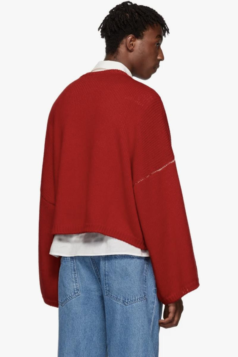 Raf Simons Virgin Wool Cropped Oversized RS Sweater Red Navy Blue intarsia knit fw17 i heart ny sweater iconic piece pullover contrast stitching