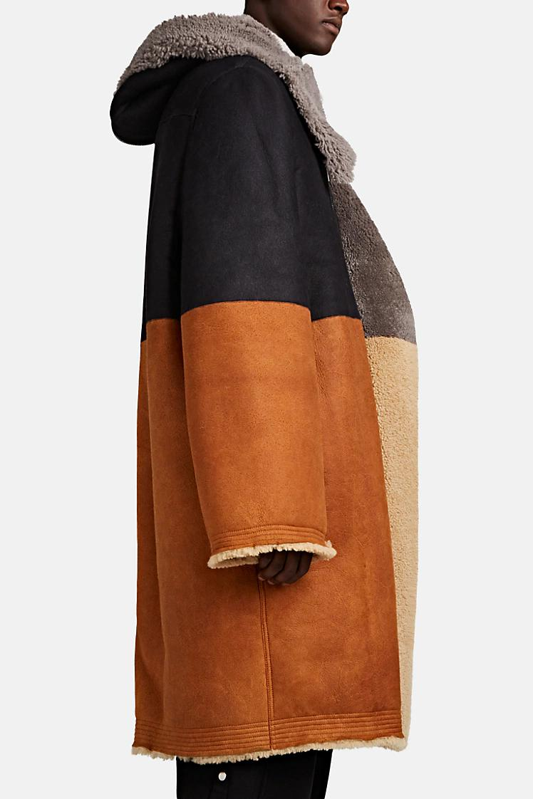Fall Rick Owens Colorblocked Shearling Coat Low Stock