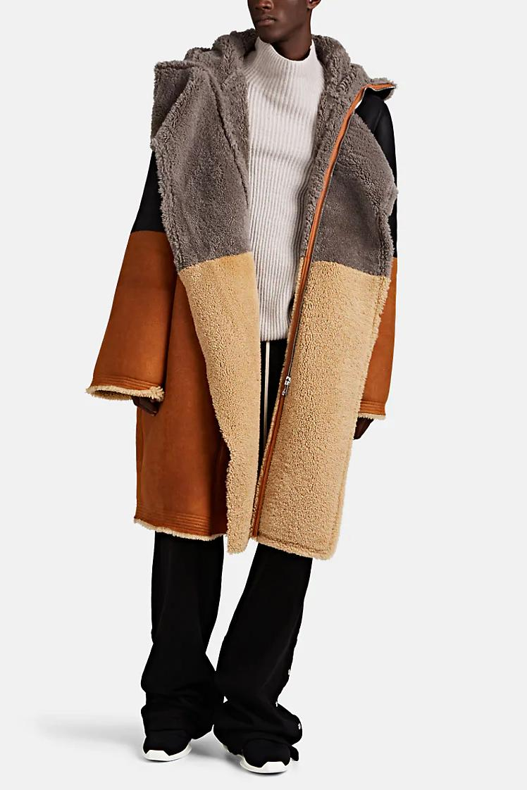 Prepare for Fall with Rick Owens' Colorblocked Shearling Coat