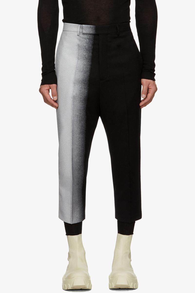 rick owens degrade  black silver tone white blazer trousers suit