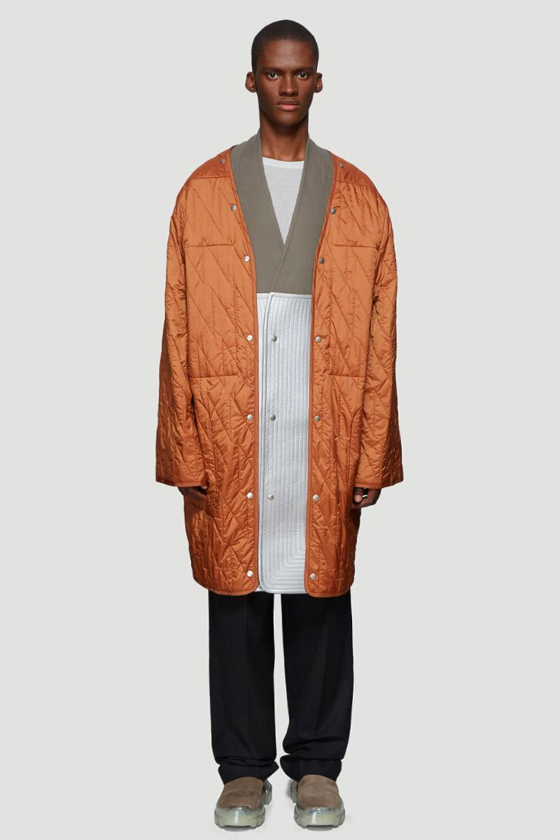 Rick Owens Quilted Liner Coat in Orange Snap Front Liner Coat layering FW19 AW19 elongated drop dhoulder snap button fastening closure down filled padded premium satin nylon weave