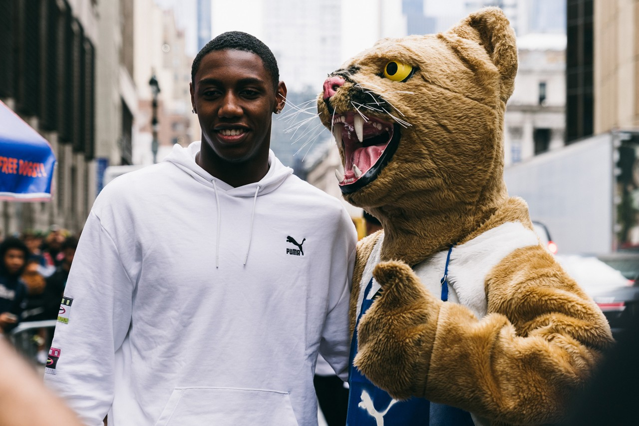 rj barrett new york knicks nba basketball puma sneakers sneaker shoe deal contract city hot dogs t shirts tees shirt toronto cat mascot jet