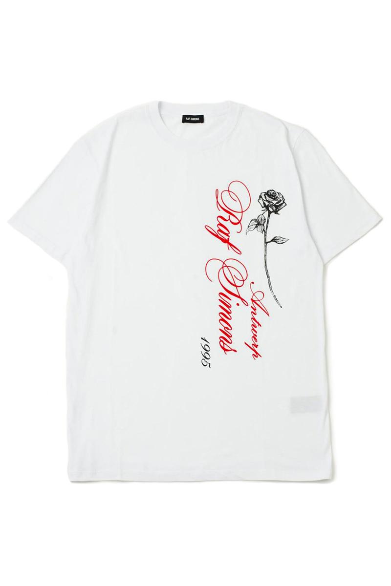 Ron Herman x Raf Simons 10th Anniversary Japan T-Shirt exclusive bespoke t-shirt graphic rose script typography release info price date drop