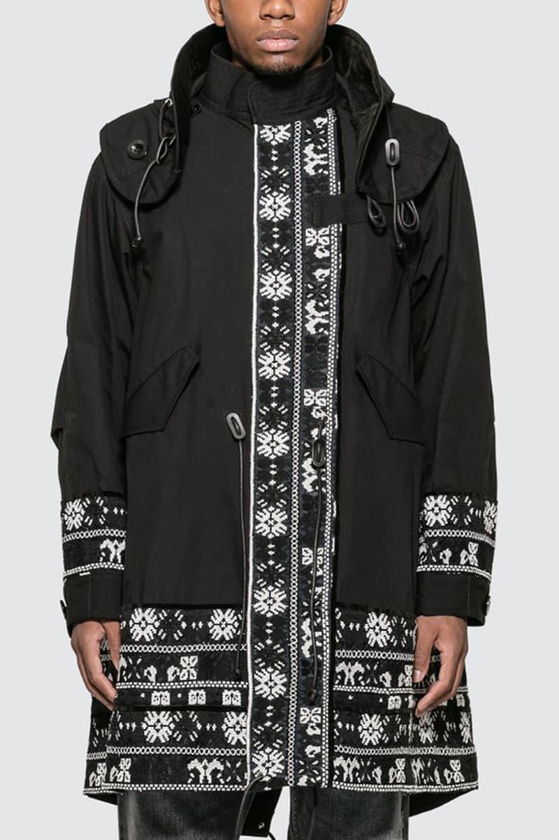 sacai floral stripe jacquard blouson jacket coat green black release buy shop