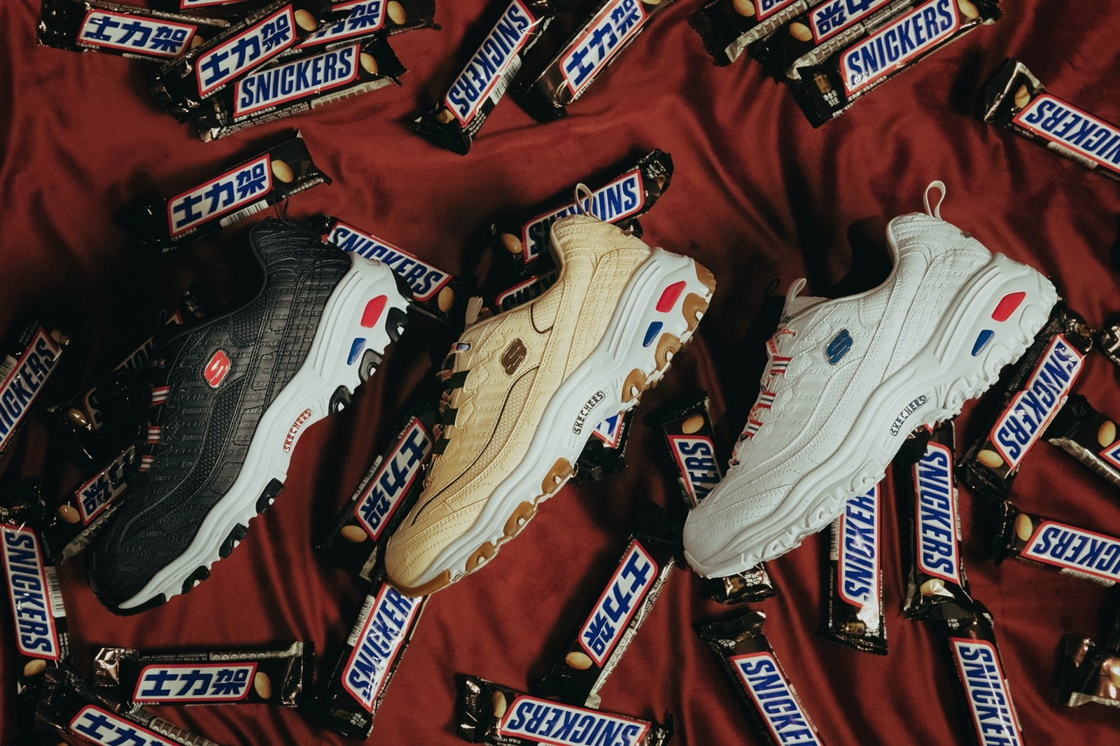 Skechers and Snickers Unveil Footwear Collaboration Chocolate candy