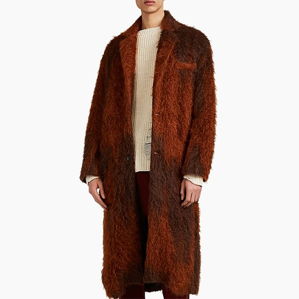 Song for the Mute Fuzzy Mohair-Blend Two-Button Topcoat
