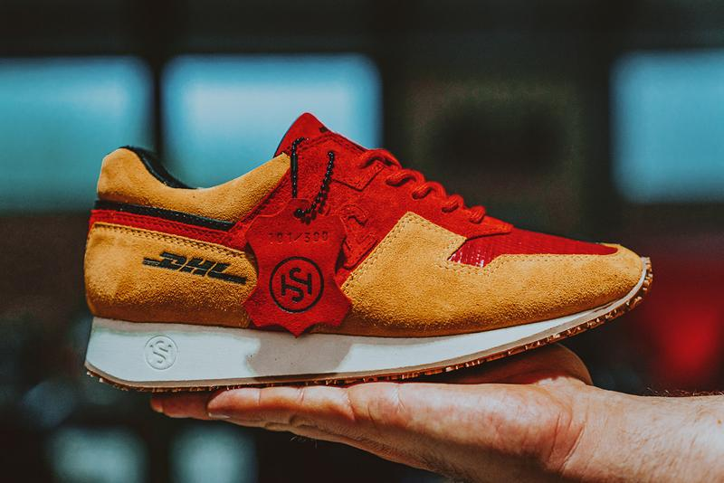 SONRA proto DHL-1 Budapester Shipping Company Sneaker Release Information Collaboration Hikmet Sugoer Recycled Sustainable Red Bags Tags Aviation Tag Boeing 757 300 Pairs Worldwide
