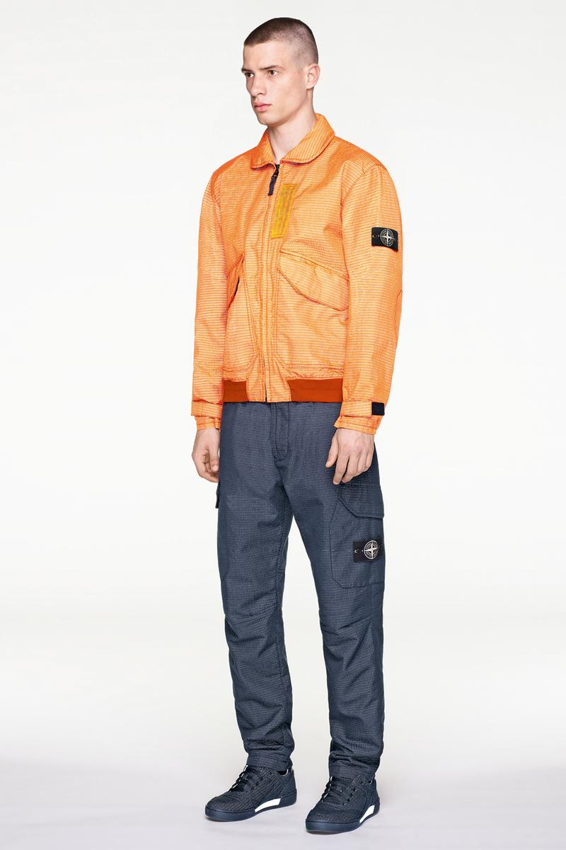 Stone Island Fall/Winter 2019 Lookbook Collection Jackets Pants Boots Blue Green Orange Bomber Jackets Knit Sweaters Crewnecks Hoodies