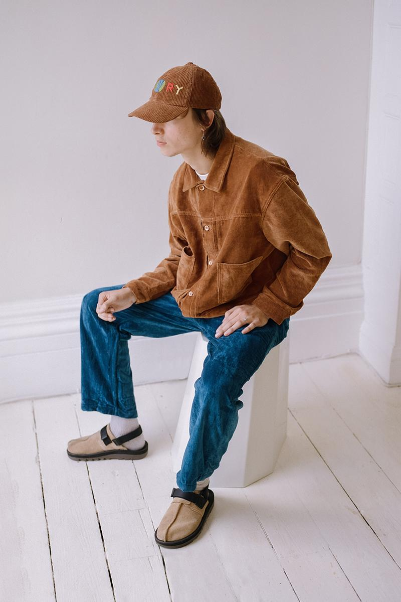 "STORY mfg. ""Earthtone"" Fall/Winter 2019 FW19 Collection Lookbook Images Season British Brand Sustainable Organic Materials Plant-Powered Fabrics Dyes India Renewable Energy Cotton Cutouts Paper Labels Pub Culture"