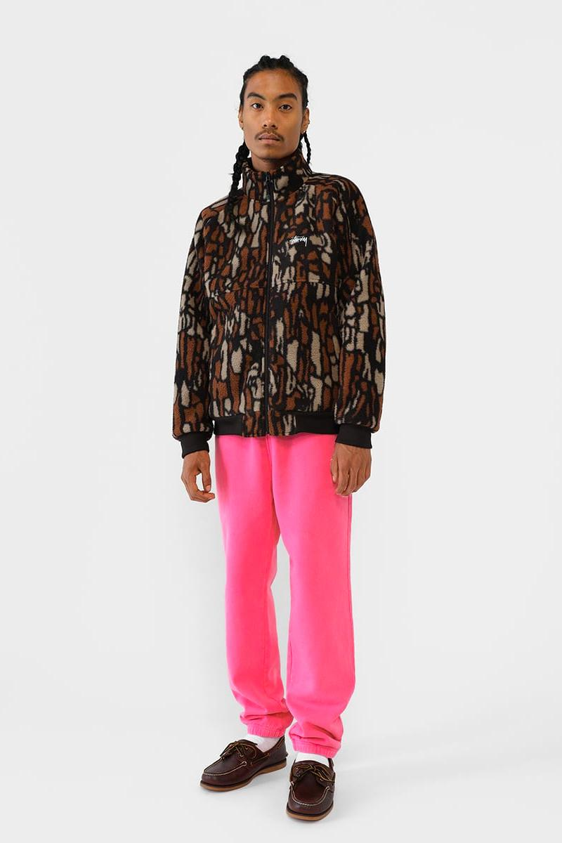 Stussy Fall 2019 Lookbook Collection california 90s tie dye argyle paisley camouflage checker Hawaiian Jacquard mock neck tactical contemporary tree bark fleece