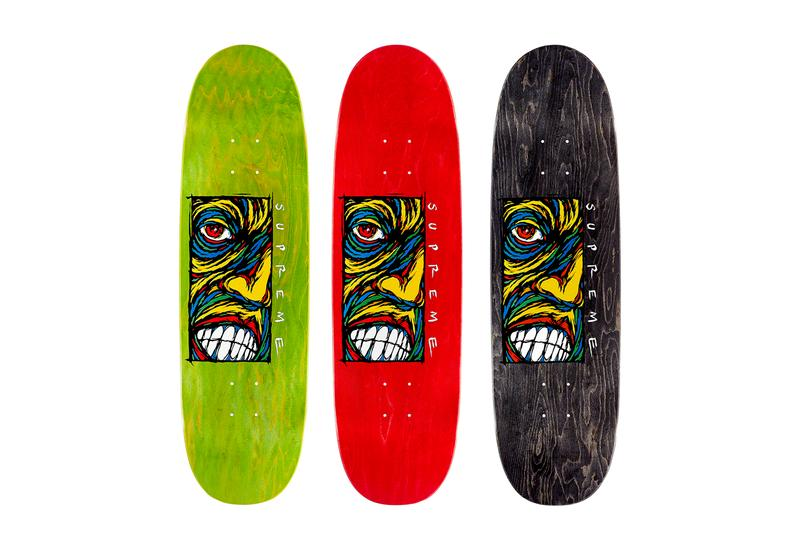 Supreme Fall/Winter 2019 Accessories Skate Deck Green Red Black Face Art African
