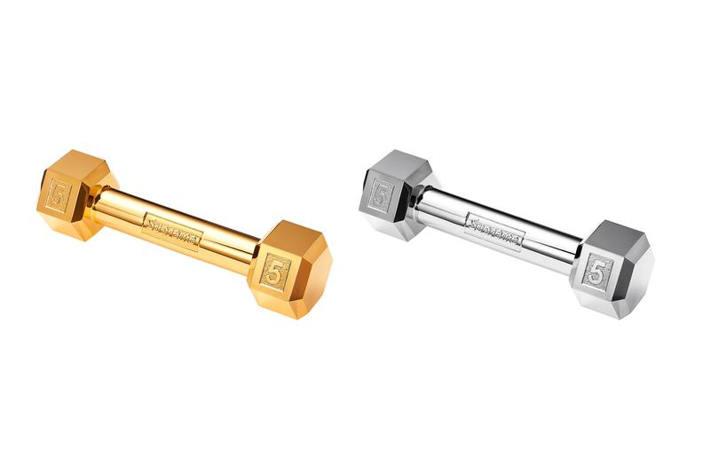 Supreme Fall/Winter 2019 Accessories Gold Silver Dumbbells 5 lbs pounds