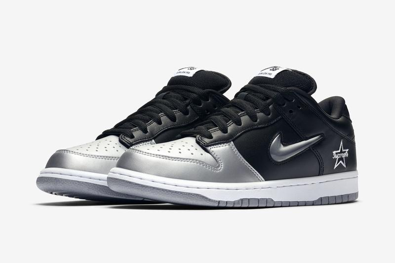"Supreme x Nike SB Dunk Low ""Black/Metallic Silver"" fall/winter 2019 collection collaboration swoosh logo official photos"