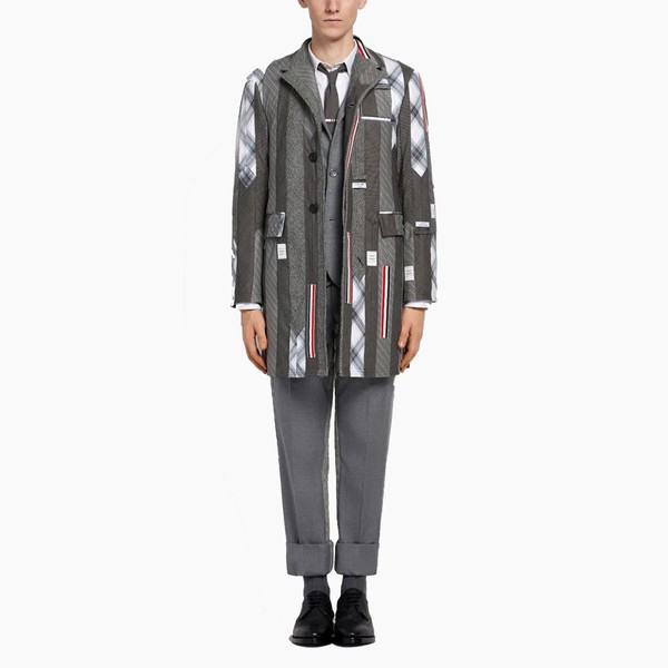Thom Browne Tie Inserts Single Breasted Coat