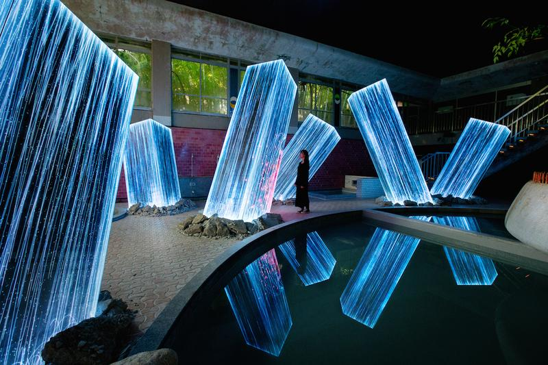 teamlab art collective megaliths mifuneyama rakuen park japan installations artworks digital projections