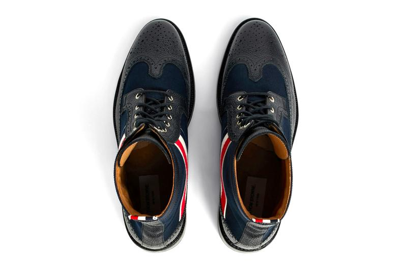 Thom Browne RWB Webbing Longwing Boot navy green red white blue tricolor canvas pebble grain leather waxed canvas upper lace up fastening calfskin lining