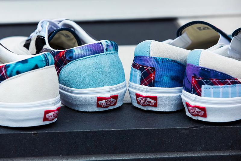 Vans Classic Slip On Era Patchwork Pack Top Stitching Deconstruction sewing tartan pony hair suede leather denim blue tie dye sneaker footwear shoes