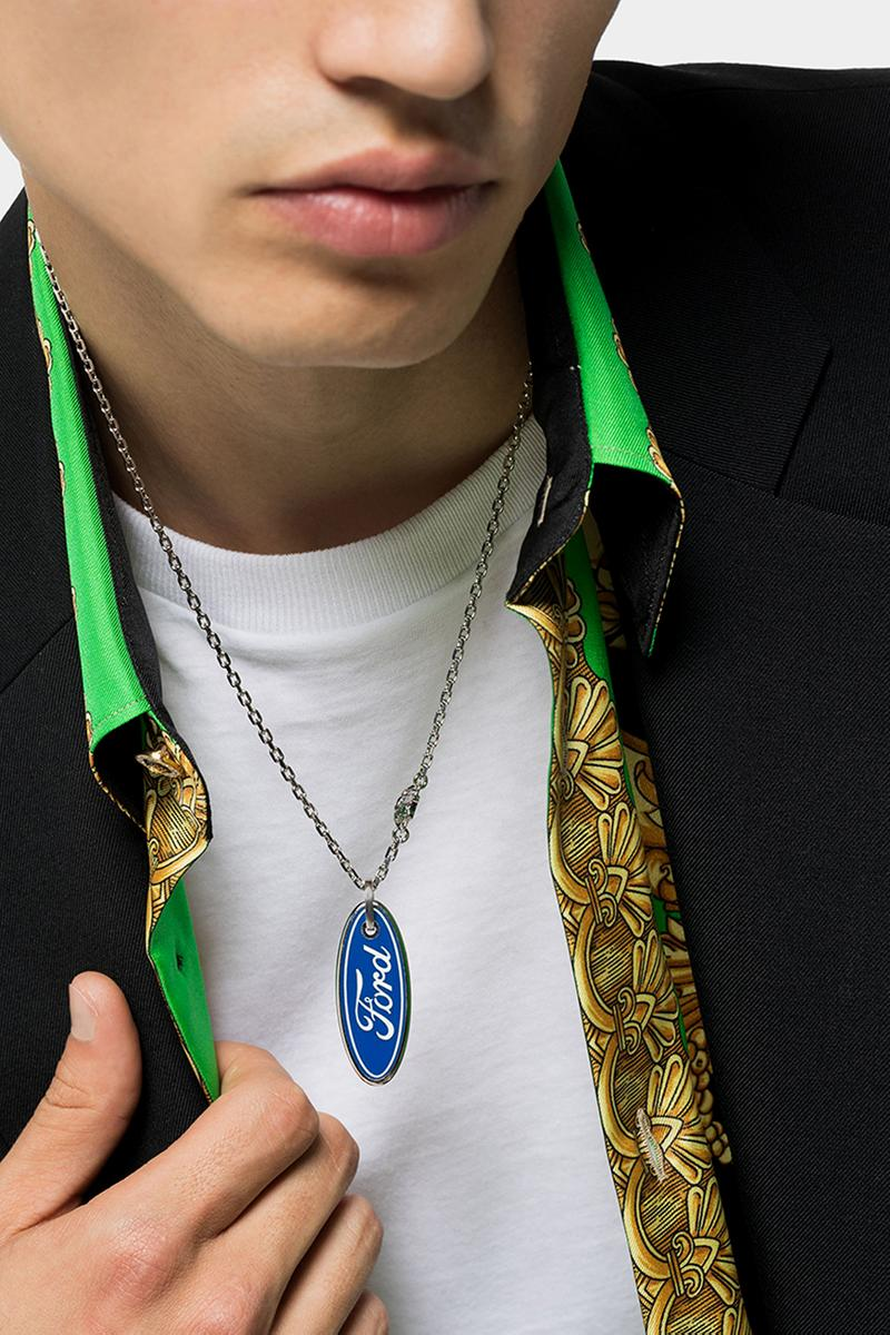 Versace x Ford Stainless Steel Logo Necklace Release Information Cop Online Browns Blue Oval Automotive Inspiration Medusa Head Charms