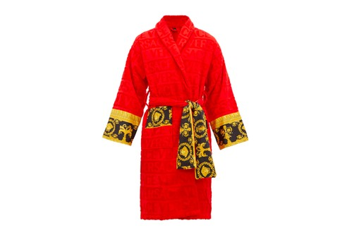 Versace Offers Regal Comfort With Red I Love Baroque Bathrobe