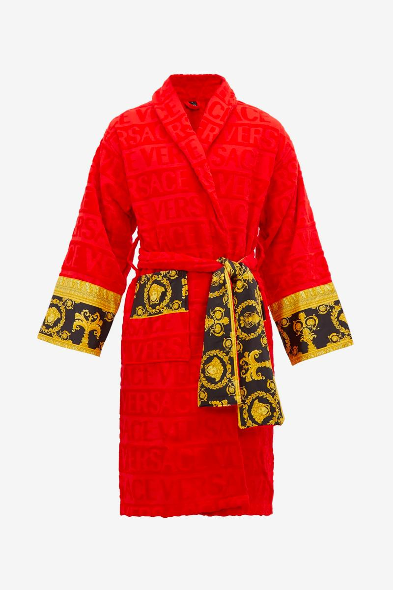 Versace Red I Love Baroque Bathrobe Release matchesfashion