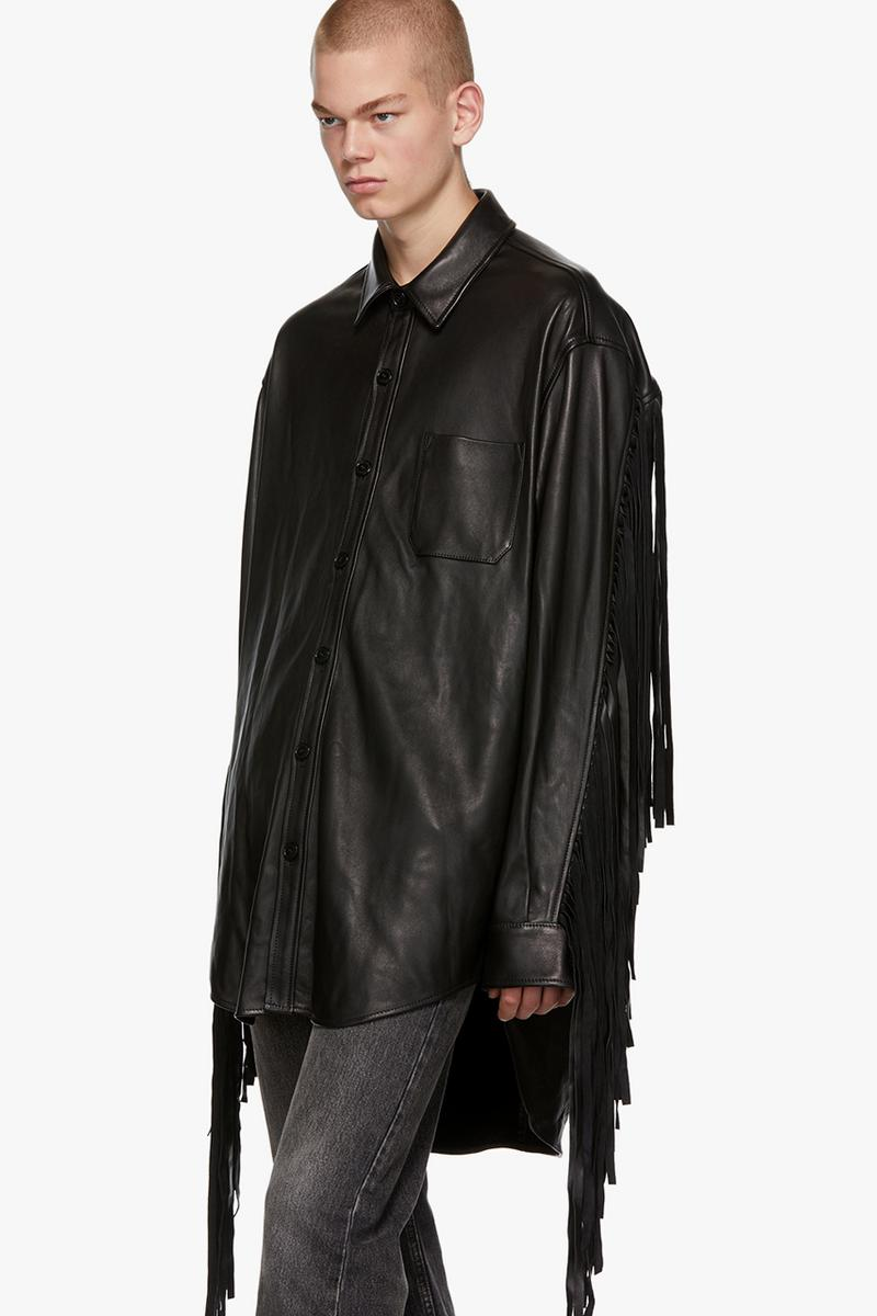 vetements black lambskin leather fringe shirt release fall 2019 collared button down