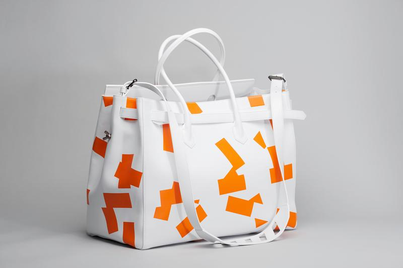 Virgil Abloh MCA Chicago Off-White™  Bag  Caravaggio Lines XL The Entombment of Christ Orange White Black Checkered