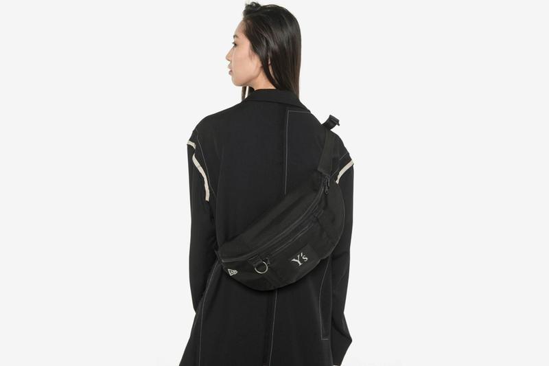 Ys New Era Capsule Collection Yohji Yamamoto black tracksuit backpack napsack tenical hoodie cap graphics monocrhomatic black apparel garments Release info Date