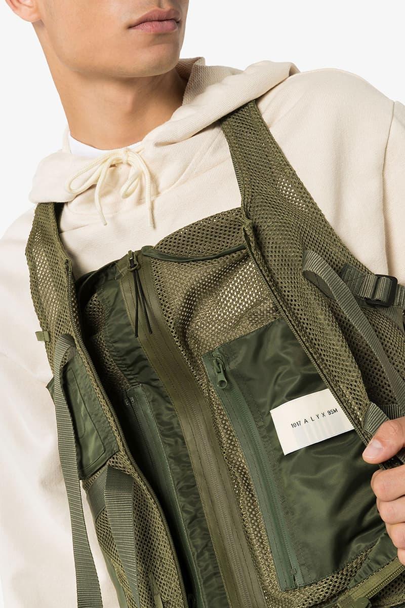 "1017 ALYX 9SM Tactical Mesh Vest ""Green"" Release Information Cop Online Browns Fashion Menswear Matthew M. Williams Utilitarian Streetwear Luxury Luxe Racerback Straps Gilet"