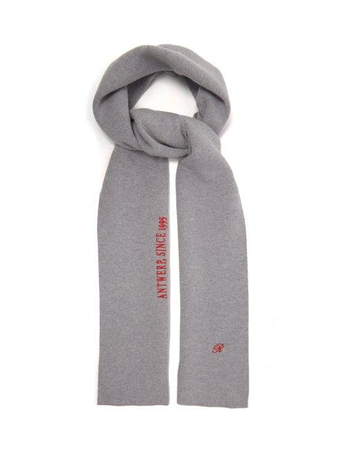 "Raf Simons ""Black/Gray"" Logo-embroidered Wool-blend Scarf release where to buy price 2019"