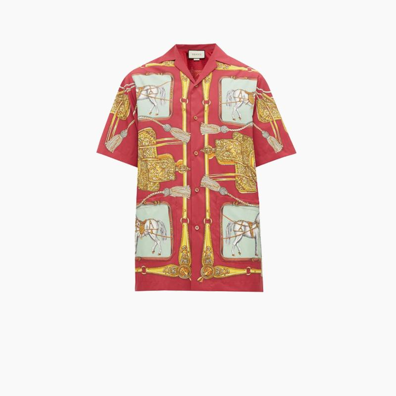Gucci Baroque Equestrian-print Mesh-lined Shirt