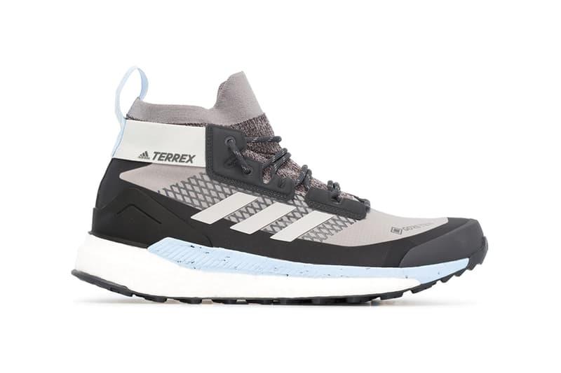 adidas terrex hiker gtx goretex sneakers grey black light blue colorway release waterproof primeknit sock upper boost midsole
