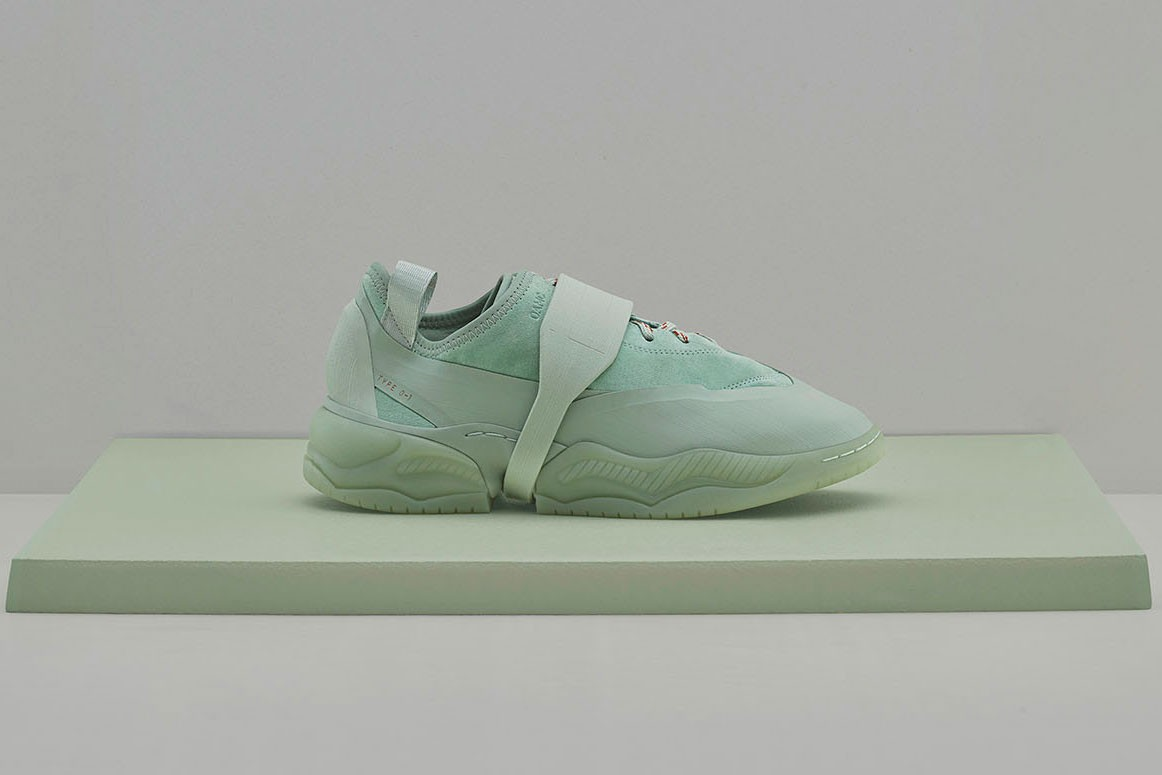 OAMC adidas originals type o-1s o-1l sneaker release information off white flesh pink medicine green union exclusive buy cop purchase release information