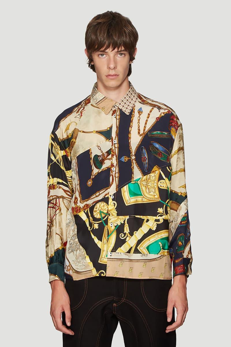 ahluwalia studio patchwork track pants sweater blue long sleeved shirt beige print colorway release fall winter 2019