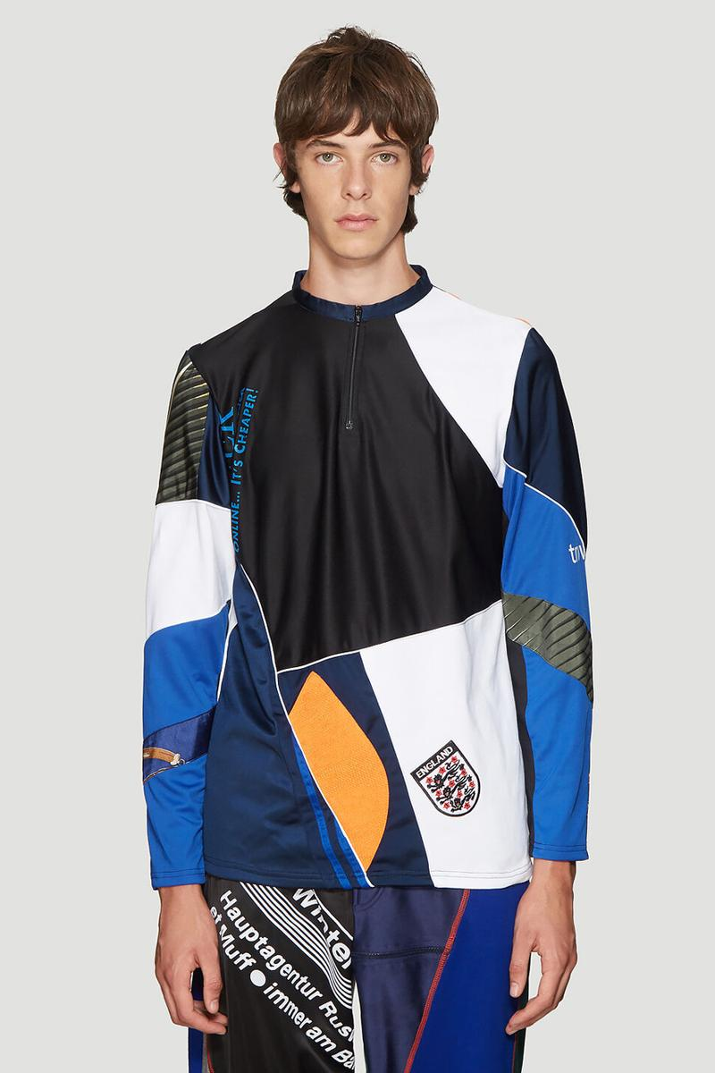 ahluwalia studio patchwork track pants sweater blue long sleeved shirt beige print colorway release fall winter 2019