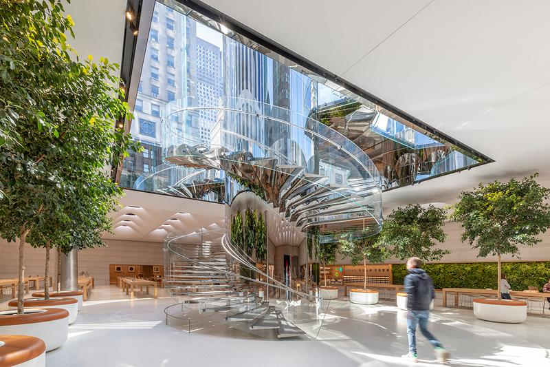 Look Inside Apple Renovated Fifth Avenue Store Retail News Skylense Stainless-Steel Natural Light