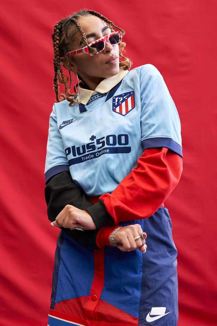 atletico madrid la liga champions league nike blue futura 90s retro barcelona tottenham hotspur chelsea football soccer buy cop purchase pre order
