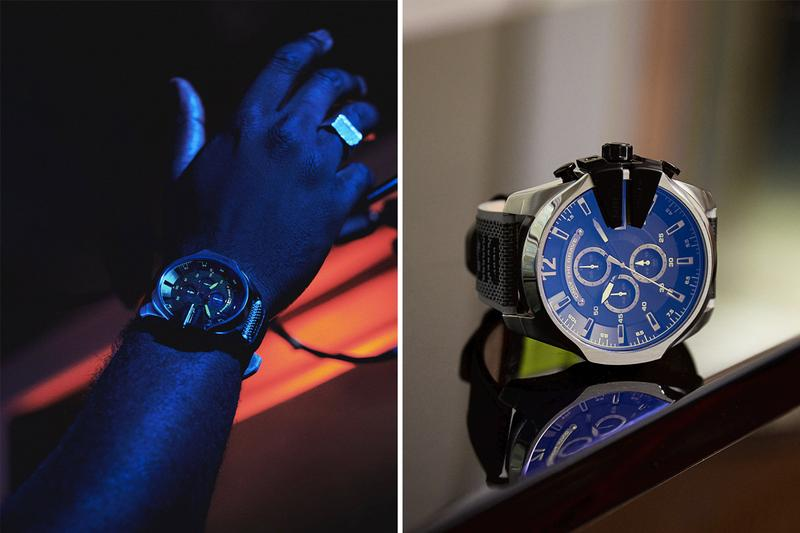 Diesel Taps '90s Rave Culture for Mega Chief Watch reflective black silver chronograph aurora anthony crystal les new york night