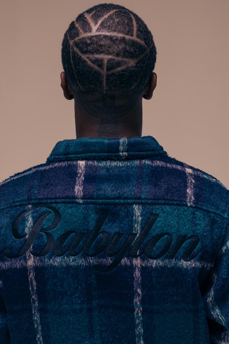 Babylon LA Fall/Winter 2019 Lookbook Collection Cut & Sew heavy plaid jacket tie dye knit sweater tricolor rugby half zip anorak Drop 1