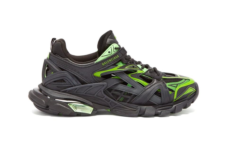 "Balenciaga Dresses Its Track.2 Sneaker in Bold ""Black/Neon Green"""