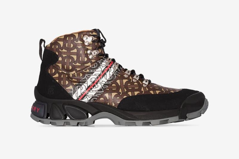 Burberry Black/Brown Monogram Hiking Boots TB Peter Saville footwear outdoors riccardo tisci