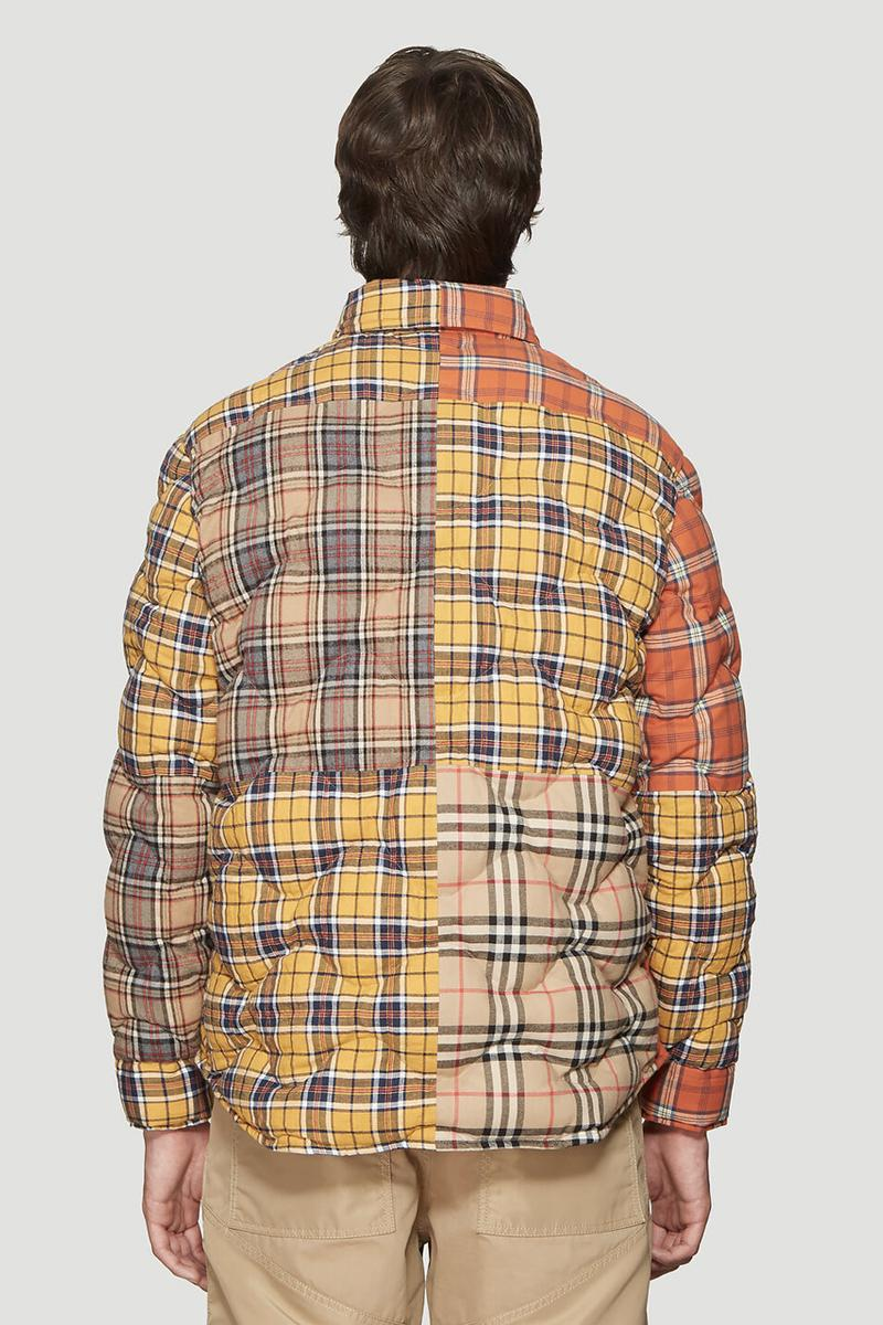 Burberry Multi Check Quilted Overshirt Riccardo Tisci yellow orange beige blue plaid checker tartan jacket fall winter 2019 collection made in italy