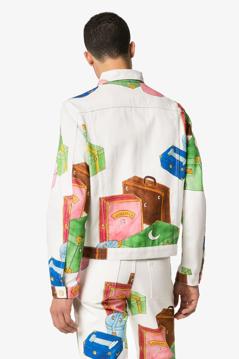 Casablanca Trunk Print Denim Jacket White Blue Green Red Brown Orange release fall 2019
