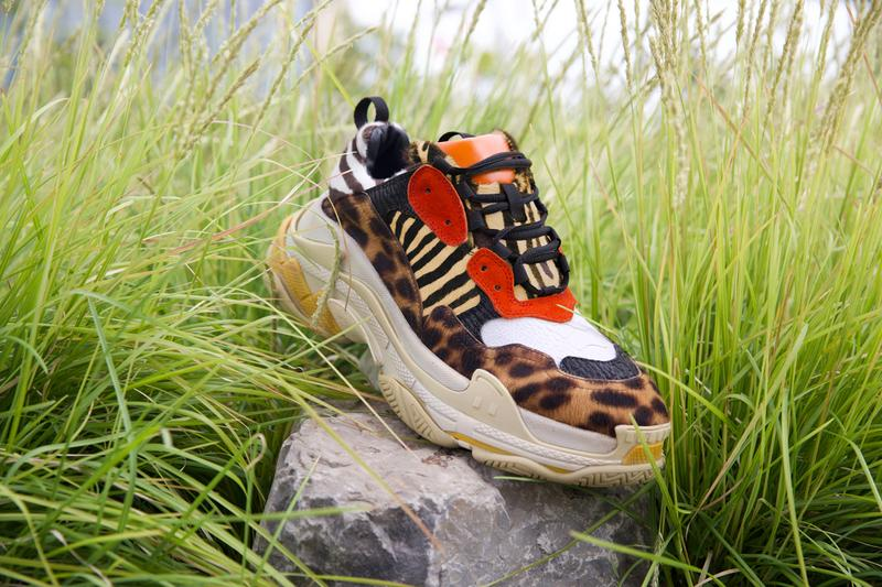 "Ceeze ""Wild Thing"" Balenciaga Triple S Pony Hair Cheetah Zebra Tiger White Ostrich Black Shark Red Pig Suede Orange Napa Leather"