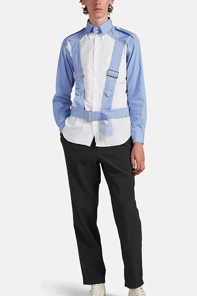 COMME des GARCONS SHIRT Striped Cotton Harness Shirt release fall 2019 blue white navy striped cotton poplin button up