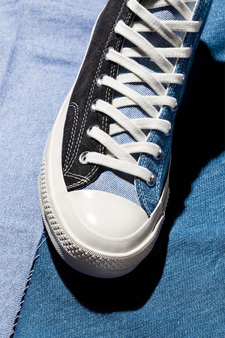 converse renew tri panel denim chuck 70 capsule release information buy cop purchase details sustainable denim sneakers footwear trainers high low beyond retro taylor all star