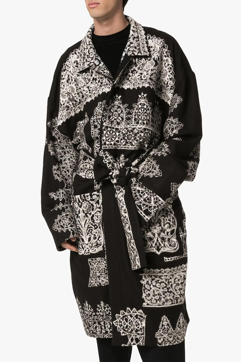 edward crutchley woolmark prize capsule release shop printed wool coat graphic print cuban collar shirt regal animal print shirt loose snake print silk trousers fall 2019 browns