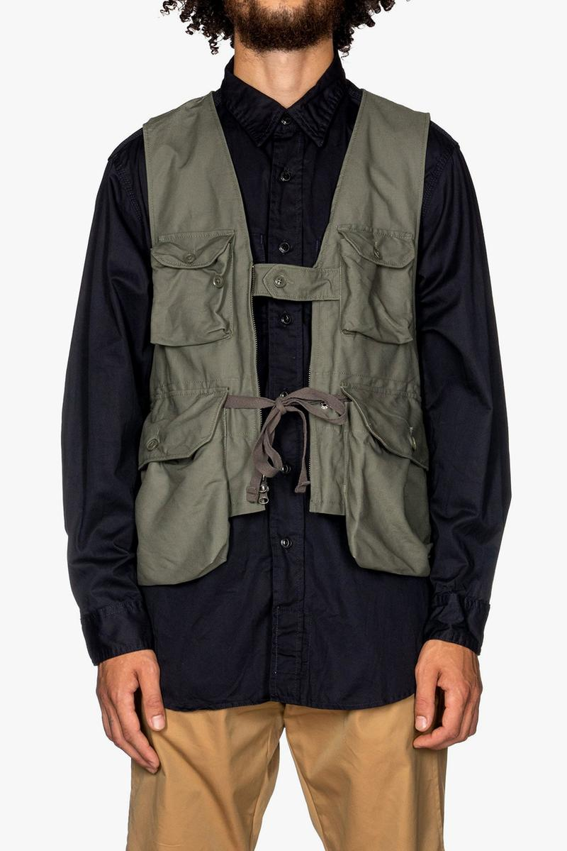 Engineered Garments Double Cloth Game Vests Cotton Corduroy 11W Chestnut Olive Gaiter Hem