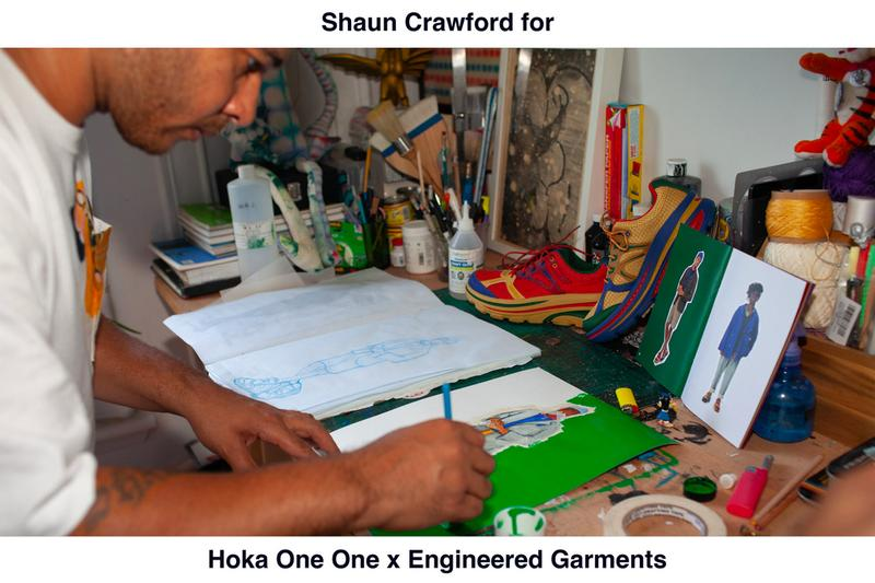 Engineered Garments x HOKA ONE ONE By Shaun Crawford Collaborative shoes capsule three colorways drop date release info multicolor yellow blue red green black white