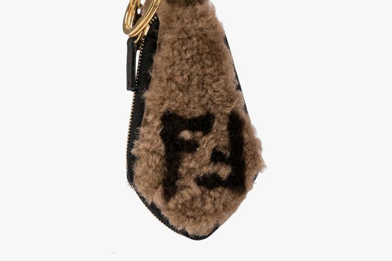 Fendi Shearling Keychain gold plated brass hardware clip fastening zip closure coin pouch contrasting FF logo sheep skin leather brown  7AR765 A8VA